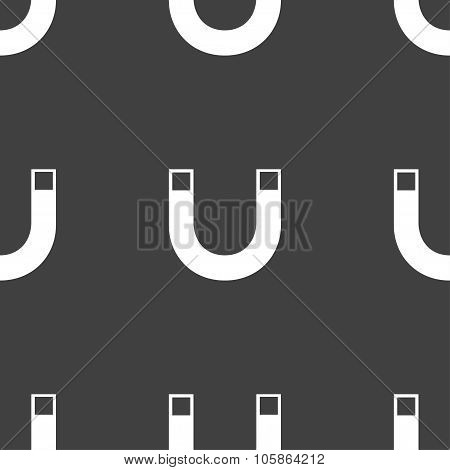 Magnet Sign Icon. Horseshoe It Symbol. Repair Sig. Seamless Pattern On A Gray Background.