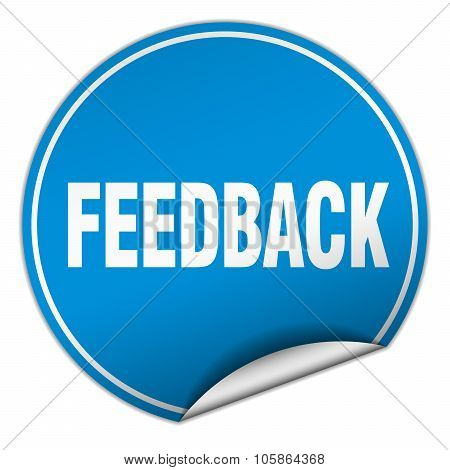 Feedback Round Blue Sticker Isolated On White