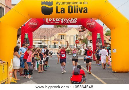 Corralejo - November 03: Participants Running Towards The Finish At Fourth International Fuerteventu