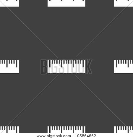 Ruler Sign Icon. School Tool Symbol. Seamless Pattern On A Gray Background.