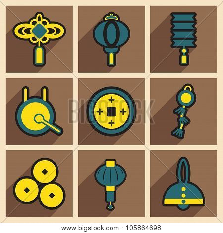 Stylish assembly icons of Japanese attributes