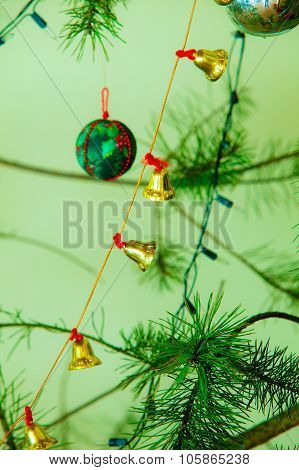 Closeup Of Little Bells Christmas Tree Ornament.