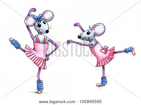 Watercolor illustration of two dancing ballerina mice