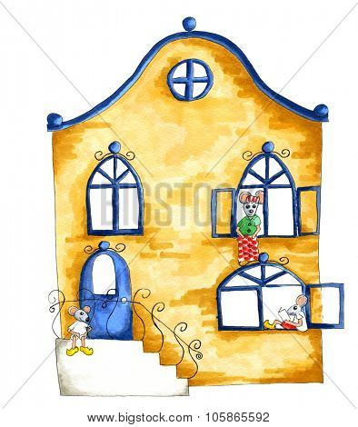 Watercolor illustration of house full with mice