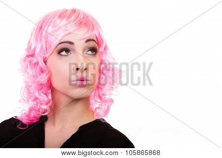 Woman With Pink Wig Creative Visage Portrait