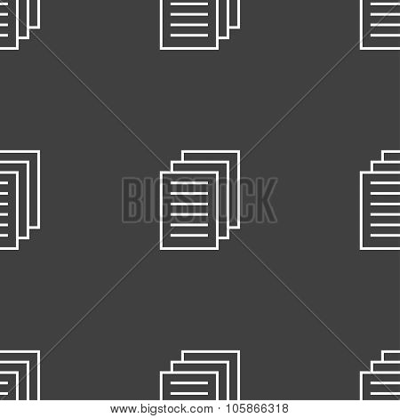 Copy File Sign Icon. Duplicate Document Symbol. Seamless Pattern On A Gray Background.