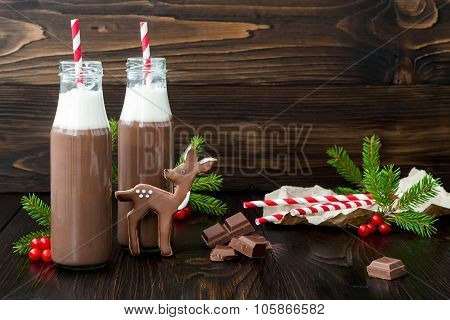 Hot chocolate with whipped cream in old-fashioned retro bottles with red striped straws. Christmas h