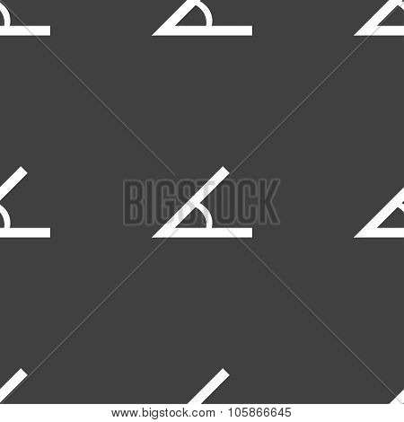 Angle 45 Degrees Icon Sign. Seamless Pattern On A Gray Background.