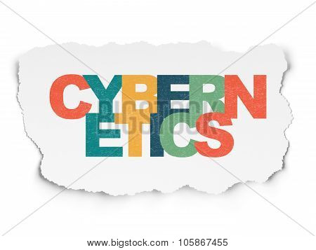 Science concept: Cybernetics on Torn Paper background