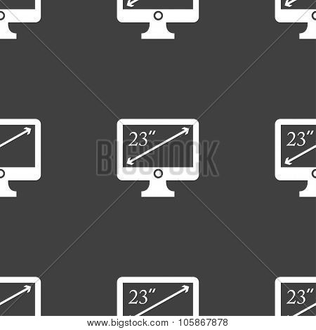 Diagonal Of The Monitor 23 Inches Icon Sign. Seamless Pattern On A Gray Background.