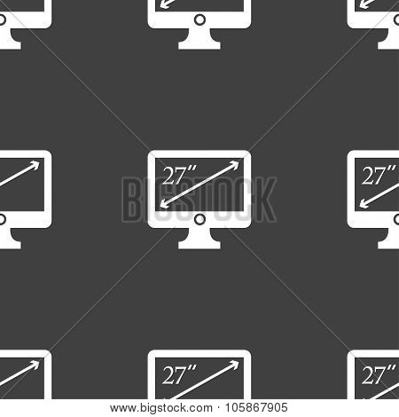 Diagonal Of The Monitor 27 Inches Icon Sign. Seamless Pattern On A Gray Background.