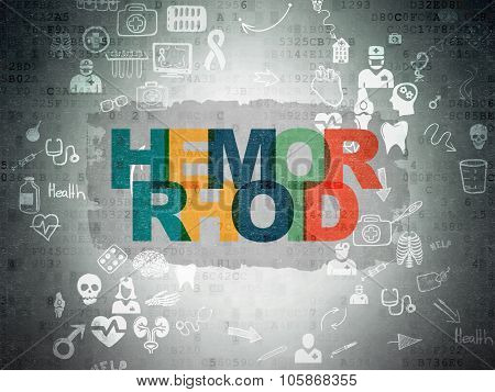 Healthcare concept: Hemorrhoid on Digital Paper background