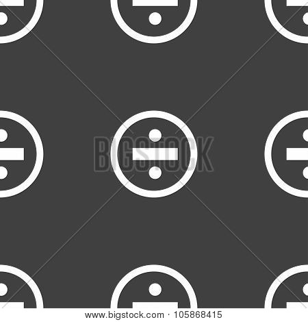 Dividing Icon Sign. Seamless Pattern On A Gray Background.