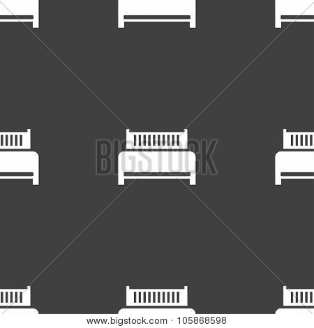 Hotel, Bed Icon Sign. Seamless Pattern On A Gray Background.