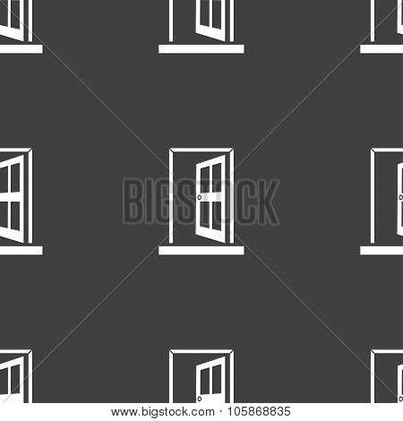 Door, Enter Or Exit Icon Sign. Seamless Pattern On A Gray Background.