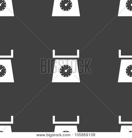 Kitchen Scales Icon Sign. Seamless Pattern On A Gray Background.