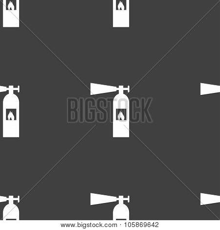 Fire Extinguisher Icon Sign. Seamless Pattern On A Gray Background.