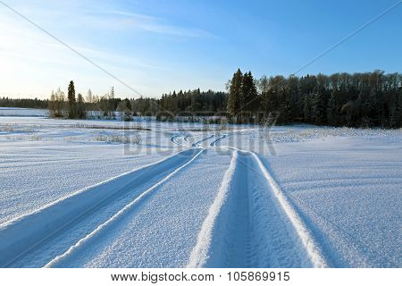 Winter Road In A Snowy Field