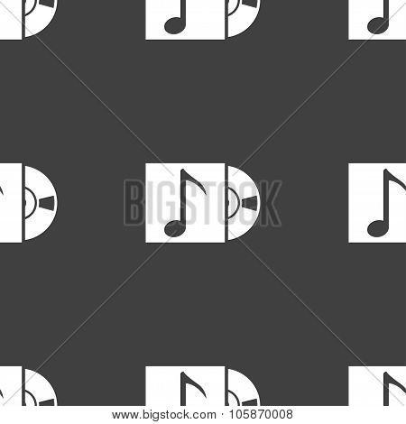 Cd Player Icon Sign. Seamless Pattern On A Gray Background.