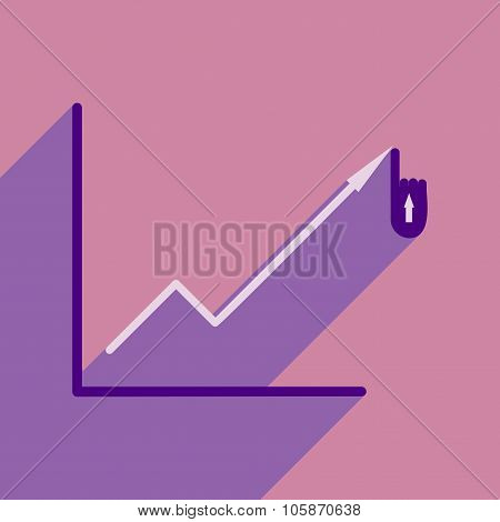 Modern flat icon with shadow economic graph