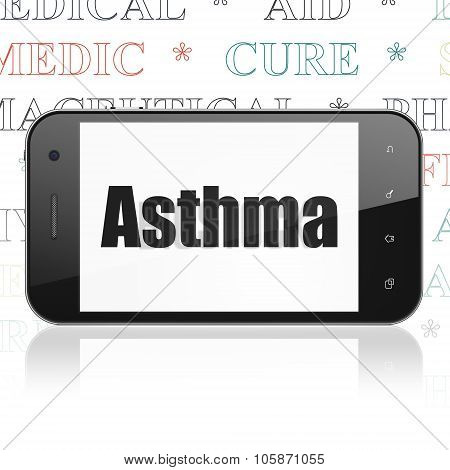 Healthcare concept: Smartphone with Asthma on display