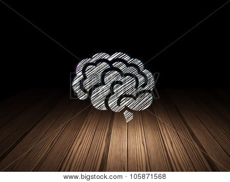 Health concept: Brain in grunge dark room