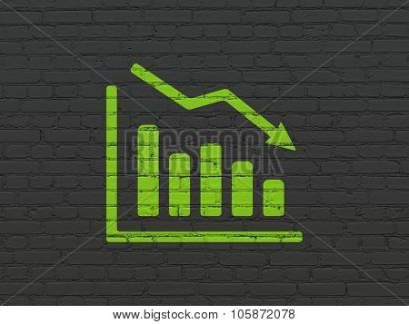 Advertising concept: Decline Graph on wall background