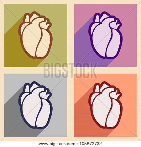 Icons of assembly human heart in flat style