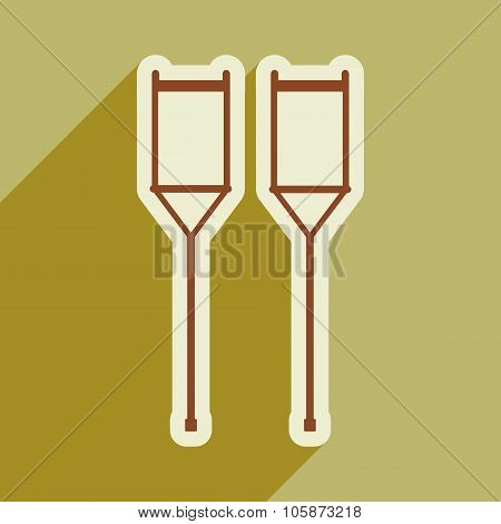 Icon of medical crutches in flat style