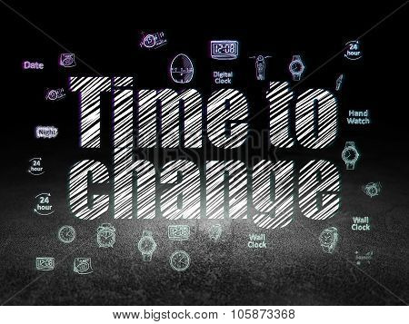 Time concept: Time to Change in grunge dark room