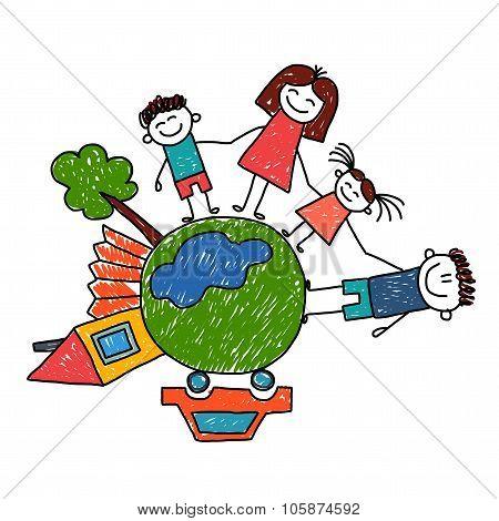 Happy family. Vector illustration.