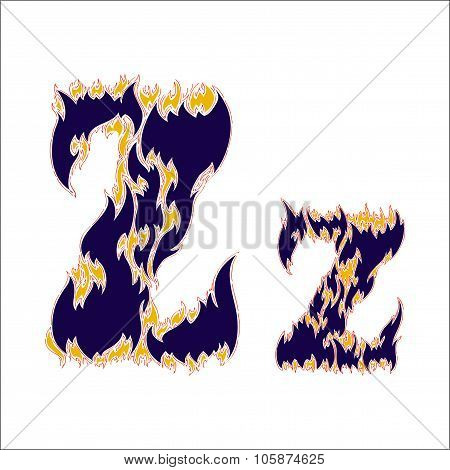 fiery font blue letter Z on a white background