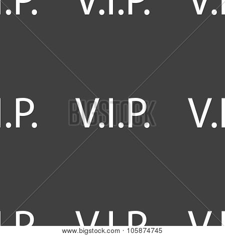 Vip sign icon. Membership symbol. Very important person. Seamless pattern on a gray background. Vect