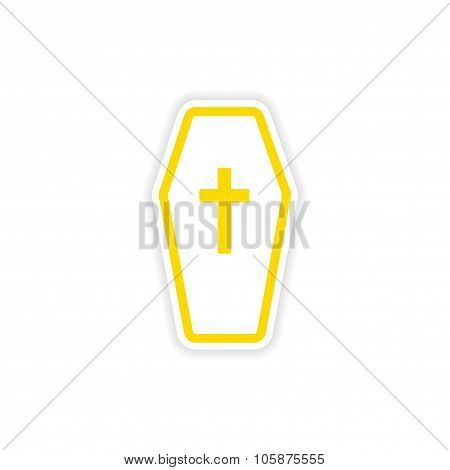 icon sticker realistic design on paper coffin