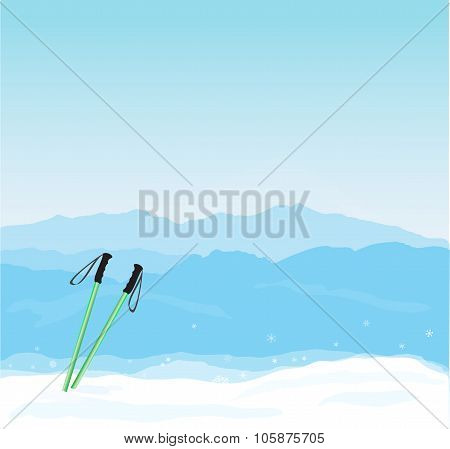 Vector Winter banner with Canigou silhouette