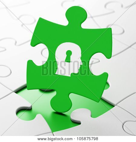 Finance concept: Head With Keyhole on puzzle background