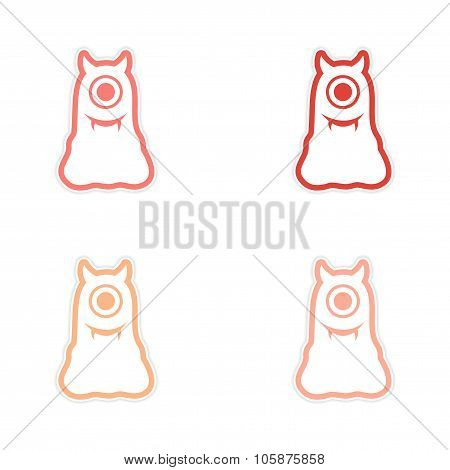 Sticker assembly Cyclops monster with horns on a white background