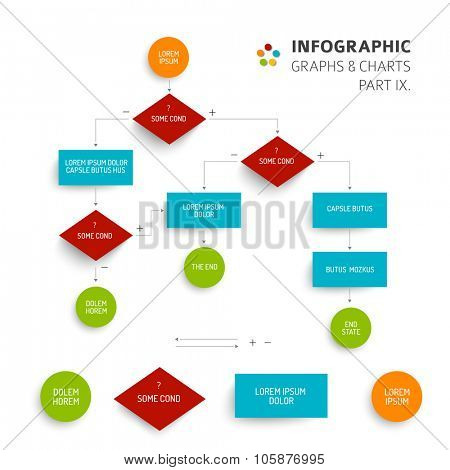 Abstract algorithm vector template with flat design - 9. part of infographic bundle