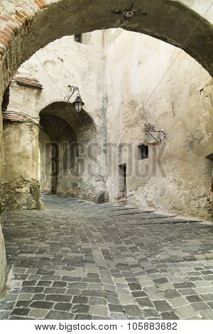 Old Street in Sighisoara City