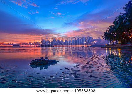 Receding Tide at Sunset, Tanjung Aru Beach, Kota Kinabalu, Sabah.