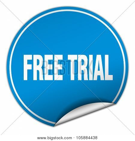 Free Trial Round Blue Sticker Isolated On White