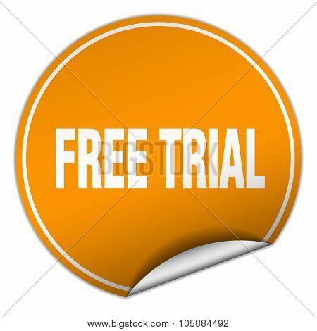 Free Trial Round Orange Sticker Isolated On White