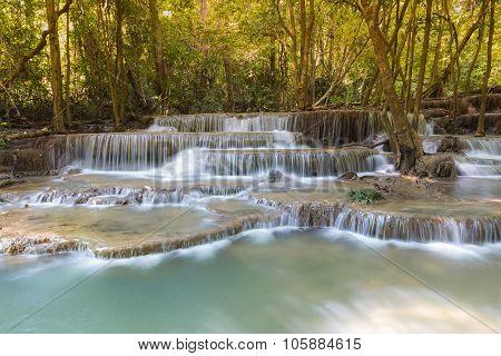 Beautiful landscape view of blue stream waterfalls