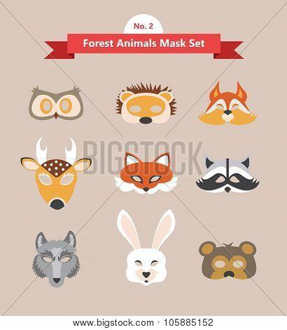 set of animal masks . set 2. forest animals