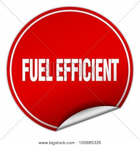 Fuel Efficient Round Red Sticker Isolated On White