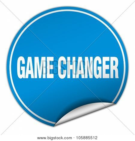 Game Changer Round Blue Sticker Isolated On White