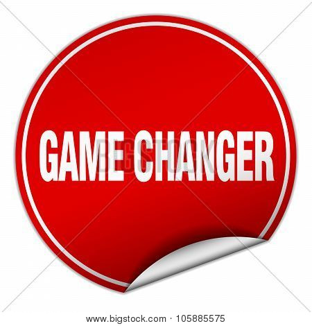 Game Changer Round Red Sticker Isolated On White