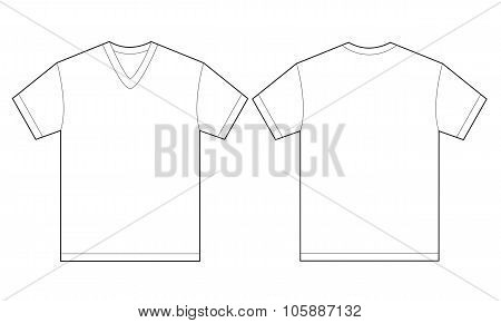 White V-neck Shirt Design Template For Men