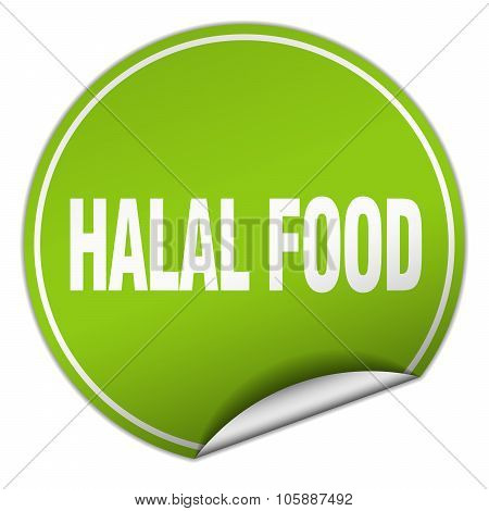 Halal Food Round Green Sticker Isolated On White