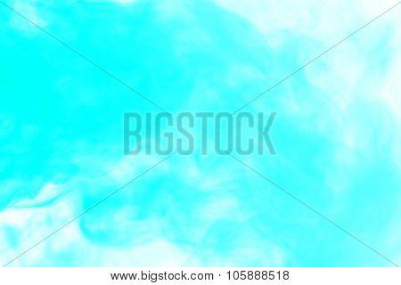 Abstract Aquamarine Hookah Smoke On A White Background.